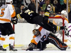 Shawn does his best Bobby Orr impression.