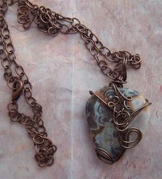 Leopard Skin Jasper  Pendant Wrapped with Dark Copper by Darringon Designs
