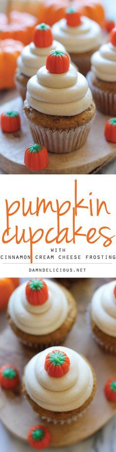 Pumpkin Cupcakes with Cinnamon Cream Cheese Frosting - These cupcakes are light and moist, topped with a fluffy cream cheese frosting!