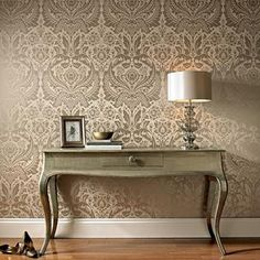 Graham & Brown offers a wide selection of Damask wallpaper and wall coverings for your home. Shop for modern design wallpaper and Damask wall coverings now. Metallic Wallpaper, Luxury Wallpaper, Damask Wallpaper, Designer Wallpaper, Paper Wallpaper, Modern Wallpaper, Textured Wallpaper, Black Wallpaper, Wallpaper Ideas