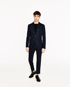 Image 1 of PIPED BLUE SUIT BLAZER from Zara