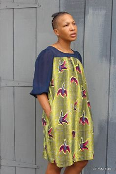 Chiffon and African Print Dress by AdinkraExpo on Etsy