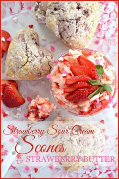 STRAWBERRY SOUR CREAM SCONES AND WHIPPED STRAWBERRY BUTTER stonegableblog.com