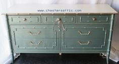Bamboo furniture - Thomasville dresser painted in tide pool blue metallic and gold