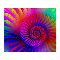 Pink Rainbow Fractal Pattern Throw Blanket on CafePress.com