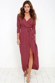 bddd6b63db3 Fluent in Stroll Wine Red Wrap Maxi Dress Maxi Wrap Dress