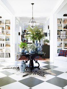 painted floors, pedestal table