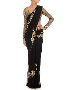 Latest blouse designs for party wear – Hey Beautiful! Navy blue and gold saree or sari with blouse Bollywood Designer Sarees, Bollywood Fashion, India Fashion, Asian Fashion, Fashion Wear, Dress Fashion, Fashion Online, Indian Attire, Indian Wear