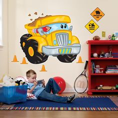 Awesome Party Supplies Construction Pals Giant Wall Decals just added. Construction Theme Bedroom, Construction Party, Boys Construction Room, Types Of Flooring, Flooring Options, Wall Stickers Murals, Wall Murals, Wall Decal, Mural Art