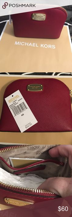 "💘JUST LISTED - Michael Kors travel pouch Beautiful NWT Michael Kors travel leather pouch color - cherry. Comes with a gift bag. Makes a great gift 🎁  -Saffiano Leather  -Gold-Tone Hardware  -8""W X 5.5""H X 3""D  -Interior: One Open Pocket -Top Zip Fastening Michael Kors Bags"