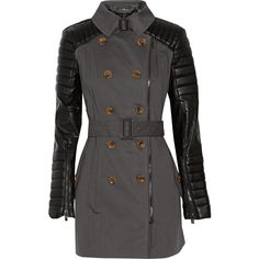 W118 by Walter Baker - Keanu Faux Leather-paneled Cotton-twill Trench Coat (780 HRK) found on Polyvore featuring women's fashion, outerwear, coats, charcoal and w118 by walter baker