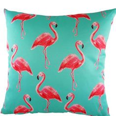 Evans Lichfield Tropical Flamingos Cushion, Turquoise