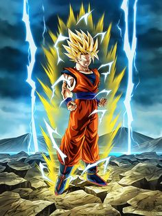 "[Boiling Power] Super Saiyan 2 Goku ""I'll deal with you once and for all! Dragon Ball Gt, Dragon Ball Image, Super Saiyan Goku, Trunks Super Saiyan, Ssj2, Foto Do Goku, Thanos Avengers, Manga Dragon, Goku Manga"