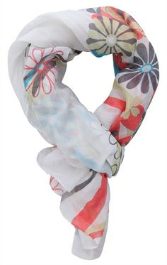 Deb Shops woven scarf with colorful daisy print $7.63