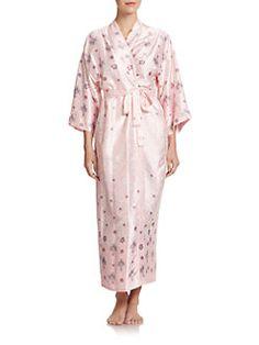 Oscar de la Renta Sleepwear - Jewel-and-Lace Print Satin Jersey Robe