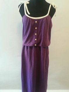 80s strappy purple jersey sundress with white buttons