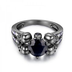1.88CT Round Cut Black Diamond Rhodium Plated Sterling Silver Four-Skull Designer Women's Ring