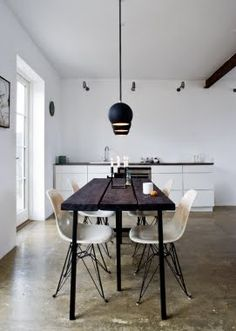 black stained table in danish home::via my scandinavian retreat, photo by Andreas Mikkel Hansen/Bo Bedre