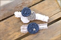 Bridal Garter Set Rosette Navy Blue Charcoal White