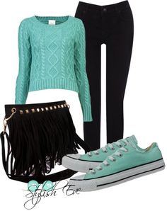 "cute  All the other stuff i didn't write and my computer won't let me delete. ""Green Converse Outfit!"" by stylisheve ❤ liked on Polyvore"