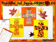 I'm thankful for Jesus! Fun craft ideas for a meaningful Thanksgiving. Free printable template, Bible verses, and lesson. Egglo.com