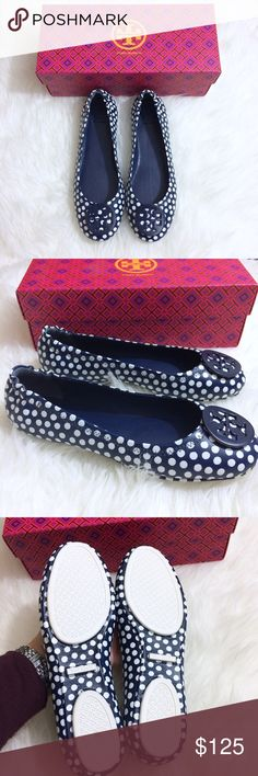 Tory Burch Polka Dot Minnie Travel Logo Flats 8 Tory Burch Minnie Travel Ballet flats with logo, printed napa leather, nautical.  Size 8                        These beautiful flats are navy blue with white polka dots and have the Tory logo at the toes. Brand new with the box, never worn. Tory Burch Shoes Flats & Loafers