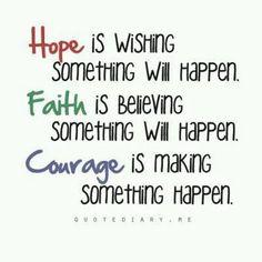 Hope, faith, and courage.