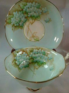 Vintage Blue & Gilt Floral Teacup & Saucer ~ by Paragon ....