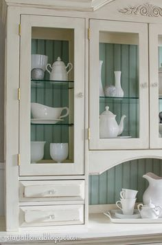 Beautiful Hutch Refinished Hutch with Blue Backdrop!! | Start at Home Decor