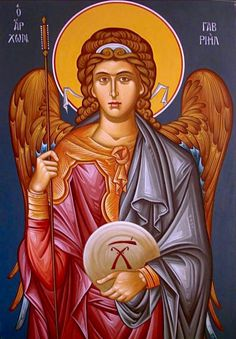 Archangel Gabriel                                                                                                                                                      More Byzantine Icons, Byzantine Art, Religious Icons, Religious Art, Greek Icons, Angels Among Us, Early Christian, Archangel Michael, John The Baptist