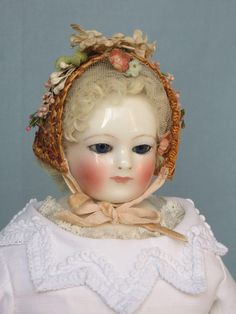 Antique French Fashion China Head Doll with Stamped Body from abigailsattic on Ruby Lane