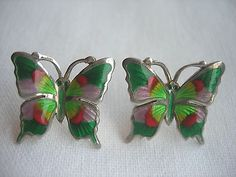 Vintage Sterling Silver Enamel Butterfly Earrings