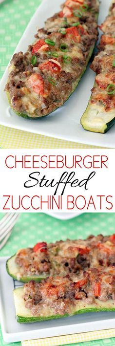 Cheeseburger Stuffed Zucchini Boats #lowcarb #cheeseburgers #food #skinny #skinnyrecipes #recipes #zucchiniboats #cooking