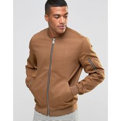 ASOS Bomber Jacket With Sleeve Zip In Tobacco ($29) ❤ liked on Polyvore featuring men's fashion, men's clothing, men's outerwear, men's jackets, brown, mens short sleeve jacket, mens cotton bomber jacket, mens brown jacket, asos mens jackets and mens cotton jacket