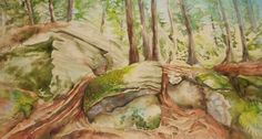 Ancient Rocks Algonquin Park by MysticalWoodsStudio on Etsy Algonquin Park, Lush Green, Watercolour Painting, Mystic, Giclee Print, Rocks, Illustration Art, Fine Art, Prints
