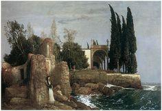 """""""Villa by the Sea"""" (1878) by Arnold Böcklin via Fine Art America."""