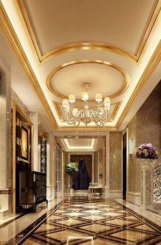 Beautiful Modern Ceiling Design You Are Looking For - Cornelius Adeniyi Mansion Interior, Luxury Homes Interior, Interior Architecture, Interior Rendering, Flur Design, Plafond Design, Tile Design, Lobby Design, False Ceiling Design