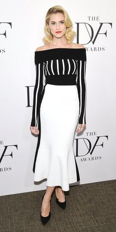 Allison Williams stunned at the DVF Awards in this black and white ensemble.