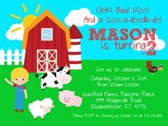 Farmer Birthday Party, Barnyard Animals, Birthday Invitations, Rsvp, Cow, Doodles, Digital, Etsy, Cattle
