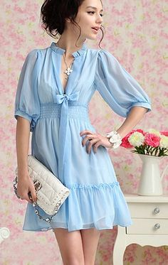 Summer Blue. Feminine Deep V Neck Ribbon Flare Blue Chiffon Dress