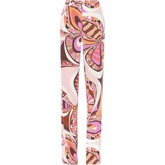 Emilio Pucci Printed silk crepe de chine wide-leg pants, Pink,... (11 470 UAH) ❤ liked on Polyvore featuring pants, pink silk pants, wide leg silk trousers, emilio pucci, wide-leg pants and silk wide leg pants