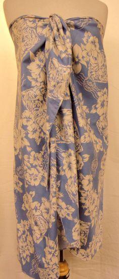 Hilo Hatti Sarong Parero Wrap Tropical Aloha Floral Cover Up Dress Blue White OS #HiloHatti #Pareo #CoverUp #Sarong #Wrap #beach #Tropical #hawaii #summer #style #fashion