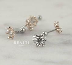 Chrysanthemum CZ Cartilage Earrings/ Conch earrings/Helix/Piercing Jewelry/Tragus earrings/Conch stud/Flower Piercings by Beatti on Etsy https://www.etsy.com/ca/listing/513929532/chrysanthemum-cz-cartilage-earrings