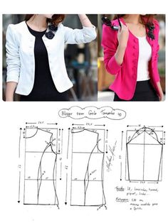 Dress Tutorials Sewing Tutorials Sewing Hacks Sewing Projects Sewing Blouses Jacket Pattern Blazer Pattern Sewing For Beginners Diy Clothes Coat Patterns, Dress Sewing Patterns, Blouse Patterns, Clothing Patterns, Blouse Designs, Skirt Patterns, Pattern Skirt, Pattern Sewing, Blazer Pattern