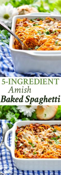 spaghetti recipes Amish Baked Spaghetti is an easy dinner recipe that your entire family will love! Pasta Dinner Recipes, Easy Pasta Recipes, Easy Meals, Cooking Recipes, Oven Recipes, Kabob Recipes, Fondue Recipes, Freezer Recipes, Tasty Recipes For Dinner