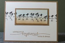 """Stampin' Up! ... handmade card ... version of the """"spotlight"""" technique with colors inside a circle or rectangle and black and white outside .... Wetlands shore birds ...:"""