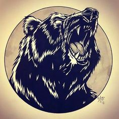 Head of Grizzly Bear Tattoo Design