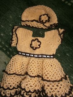 Yellow and Brown Crochet Lacy Baby Dress