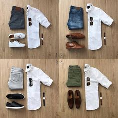1, 2, 3 or 4? @MrJunho3 . . Download our guide. Link In bio. . . . #whiteshirt #whitesneakers #outfitgrids #outfitgrid #flatlay…