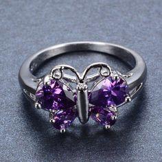 Butterfly-Shaped-Purple-Amethyst-Wedding-Ring-Women-039-s-10KT-White-Gold-Size-6-10